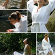 Collage of women relaxing at a riverside - Stock Photo