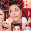 Collage of young woman with hair curlers — Stock Photo