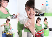 Mosaic of young woman recycling — Stock Photo