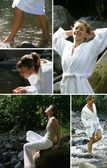Collage of women relaxing at a riverside — Stock Photo