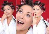 Bubbly brunette pampering herself — Stock Photo