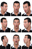 Mosaic of man with look of astonishment on his face — Stock Photo