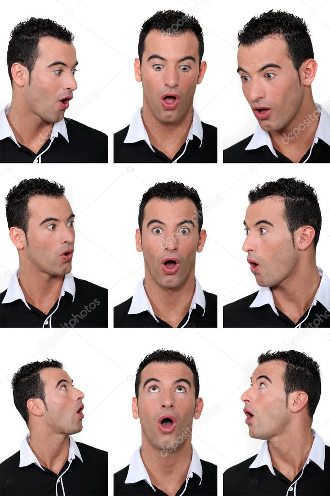 Mosaic of man with look of astonishment on his face — Stock Photo #10409692