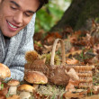 Man lying on the floor picking mushrooms - Stock Photo
