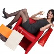 Woman celebrating her shopping — Stock Photo