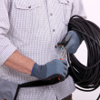 Cutting electrical wire — Stock Photo