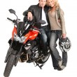 Stock Photo: Biker couple and bike.