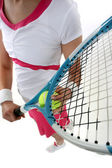 Close-up of woman holding tennis racquet — Stock Photo