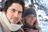 Happy couple on winter walk — Stock Photo