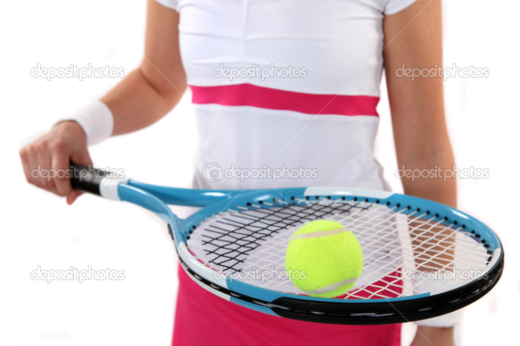 Tennis player holding her racket and ball — Stock Photo #10466486