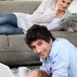 Couple relaxing at home — Stock Photo #10471036