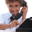 Boy on the phone - Stock Photo