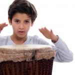 Schoolboy with jumbo drum — Stock Photo #10473840
