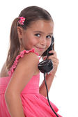 Girl with old telephone handset — Stock Photo