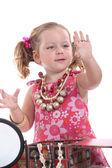 Chica poniendo en joyería — Foto de Stock