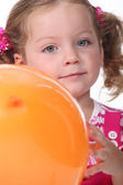 Portrait of little girl with balloon — Stock Photo