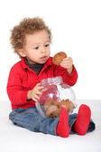 Little boy eating biscuit — Stock Photo