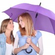 Stock Photo: Two girls under an umbrella