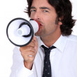 Man with speaker — Stock Photo #10493439