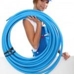 portret kobiety hydraulik — Zdjęcie stockowe #10493691