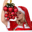 Womdressed in provocative Christmas outfit — Stock Photo #10493730