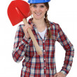 Womwith shovel — Stock Photo #10495357