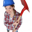 Womwith shovel top view — Stock Photo #10495662