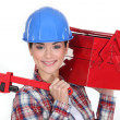 Happy womcarrying tool box — Stock Photo #10495757