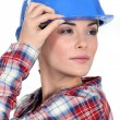 Tradeswoman with a vision - Lizenzfreies Foto