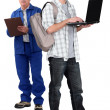 Builder and teenager stood together — Stock Photo