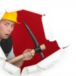Worried man with ax — Stock Photo #10496530