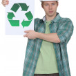 Stock Photo: Construction worker promoting recycling.