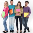 Four university students with folders — Stock Photo #10497478