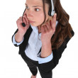 Female call-center worker — Stock Photo