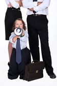 Little boy protesting against business — Stock Photo