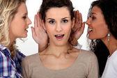 Vrouwen fluisteren met elkaar zijn verbonden — Stockfoto