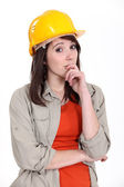 Thoughtful female apprentice — Stock Photo