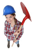 Woman with shovel top view — Stock Photo