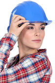 Tradeswoman with a vision — Stock Photo