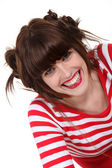 Portrait of a woman laughing — Stock Photo
