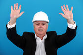 Joyous architect celebrating last day — Stock Photo