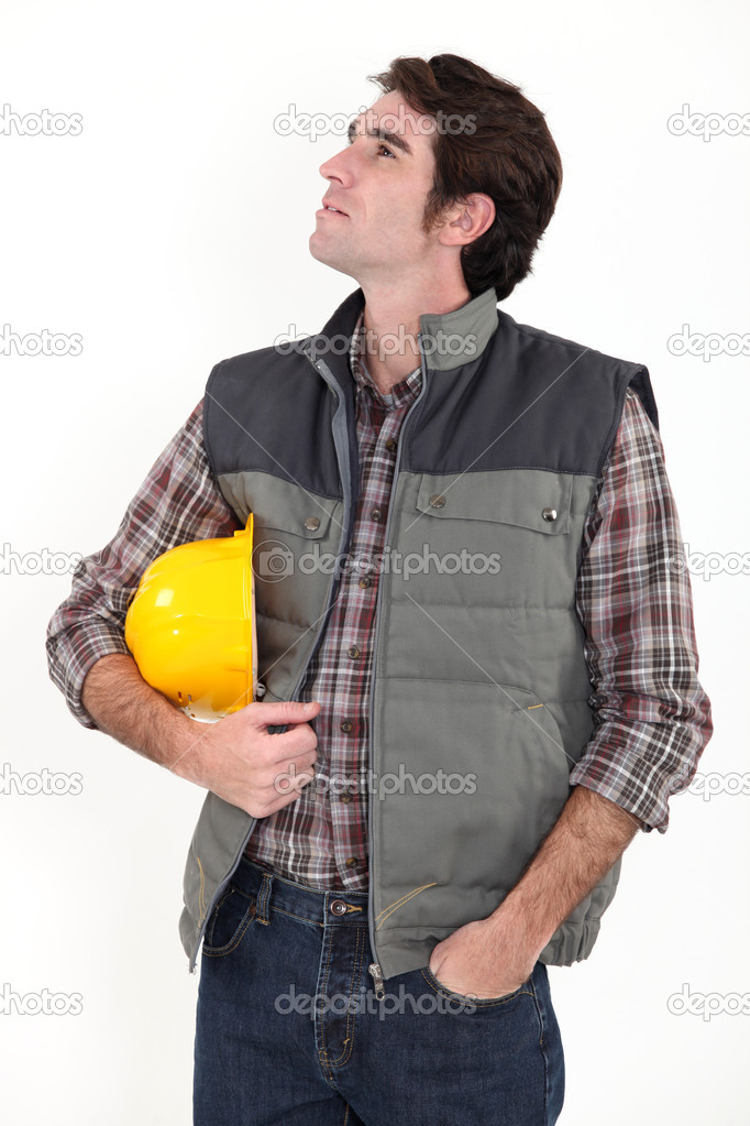 Construction worker staring off into space — Stock Photo #10494608