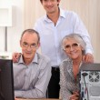 Grandson and grandparents — Stock Photo