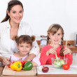 Cooking with children — Stock Photo