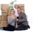 Young family on moving day — Stock Photo