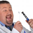 Man preparing to pull out his own tooth — Stock Photo #10504798