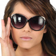 Stock Photo: Young womin oversized sunglasses
