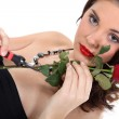 Glam woman with a red rose — Stock Photo