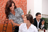 Meeting at the restaurant — Stock Photo