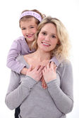 Daughter hugging her mom. — Stock Photo